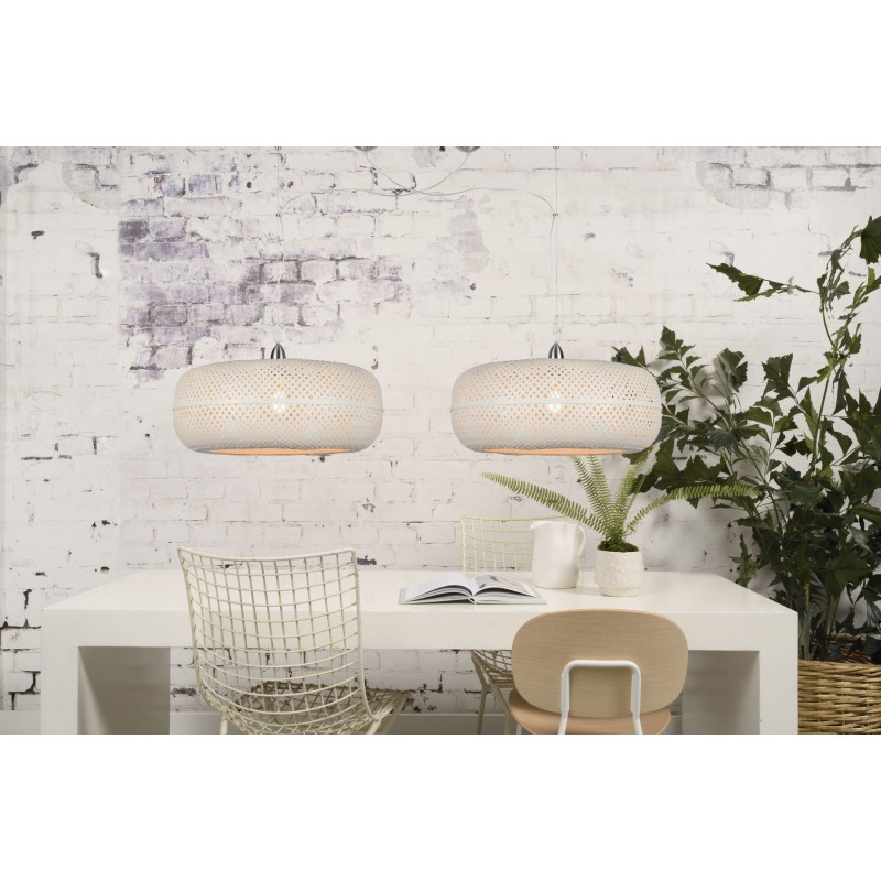 PALAWAN bamboo suspension lamp 2 lampshades (white) - image 45457