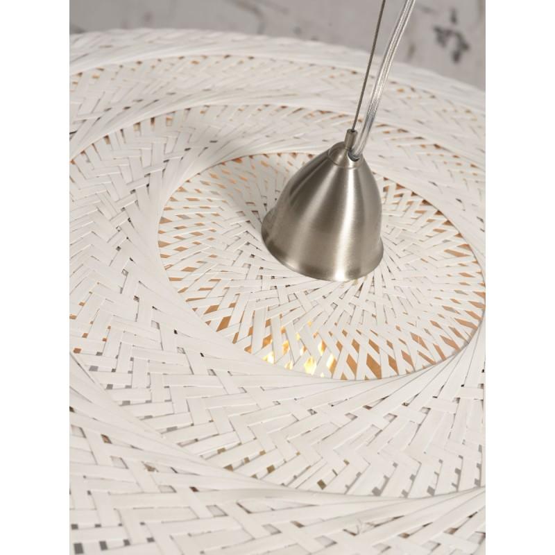 PALAWAN Bambus Hängeleuchte 2 Lampenschirme (weiß) - image 45458