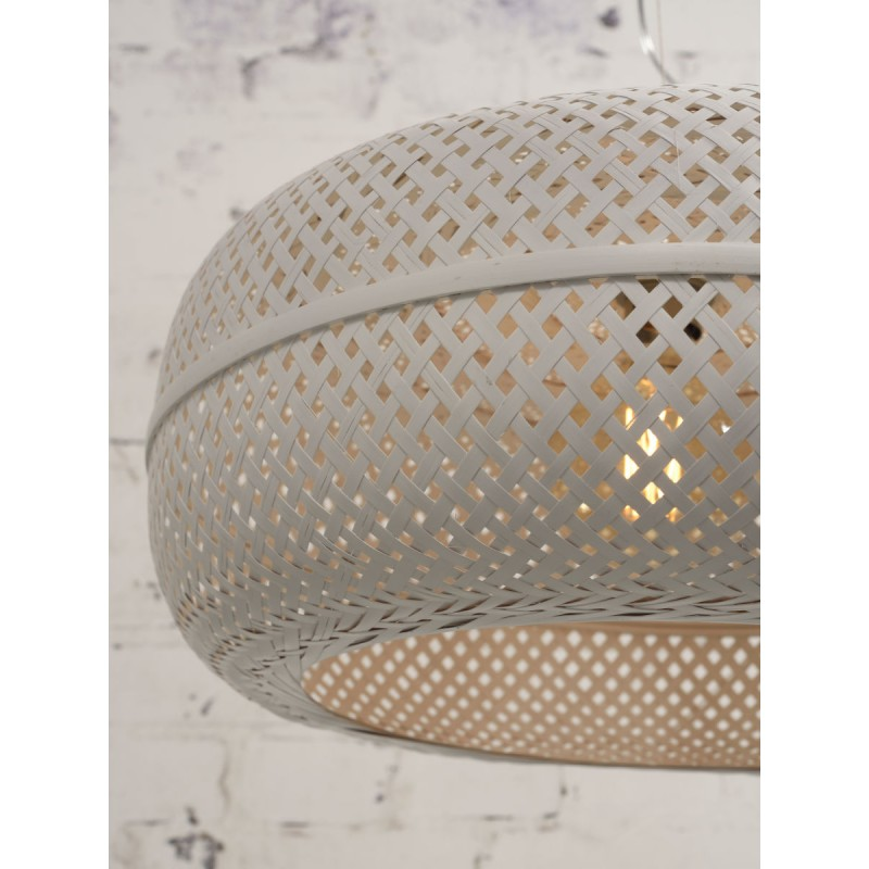 PALAWAN bamboo suspension lamp 2 lampshades (white) - image 45459