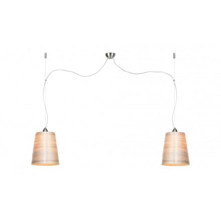 Suspension lamp in abaca SAHARA MEDIUM 2 lampshades (natural)