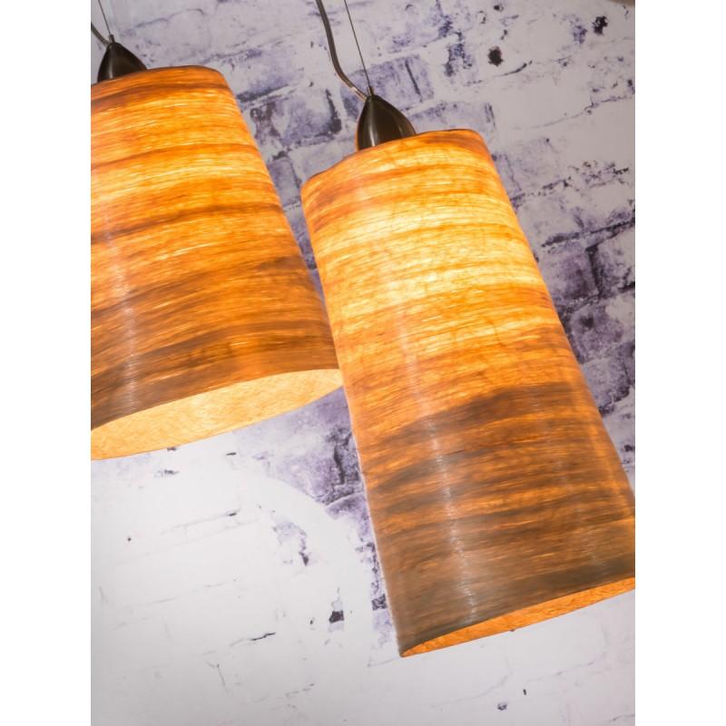 SUSPENSION Lampe in abaca SAHARA XL 2 Lampenschirme (natürlich) - image 45523