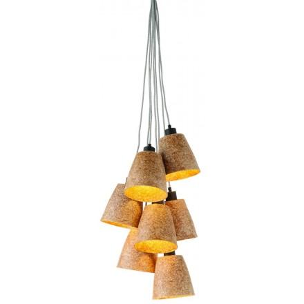 Lampe à suspension en copeaux de bois SEQUOIA 7 abat-jours (naturel)