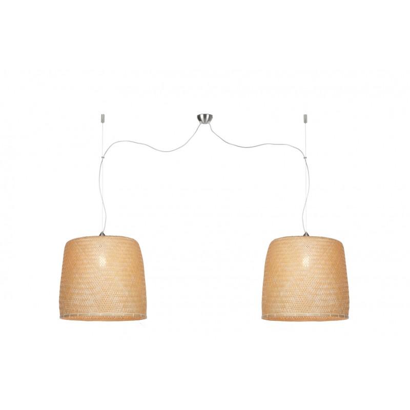 Bambus Hängeleuchte SERENGETI 2 Lampenschirme (natürlich)
