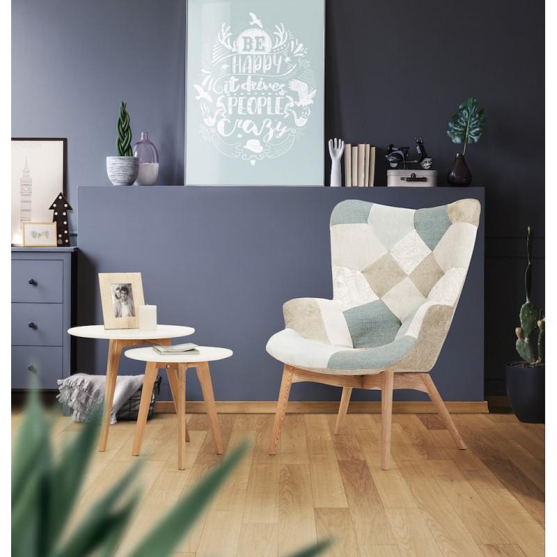 Fauteuil patchwork design scandinave LOTUS (bleu, gris, beige) - image 45580