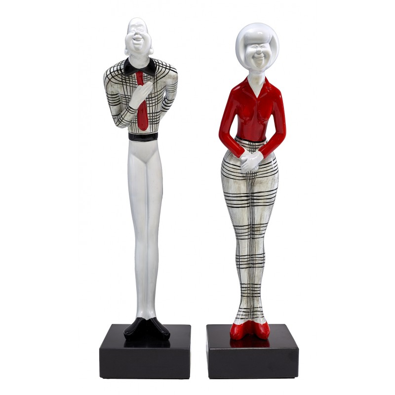 Set de 2 statues sculptures décoratives design COUPLE en résine H48 cm (rouge, noir, blanc) - image 45589