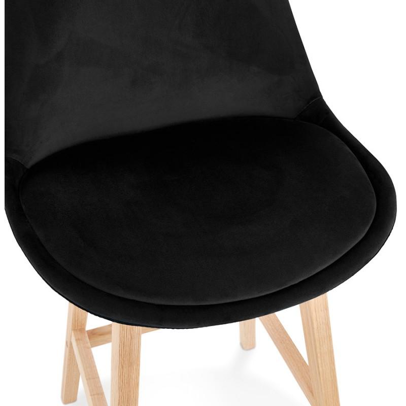 Tabouret de bar mi-hauteur design scandinave en velours pieds couleur naturelle CAMY MINI (noir) - image 45597