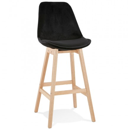 Scandinavian design bar stool in natural-colored feet CAMY (black)
