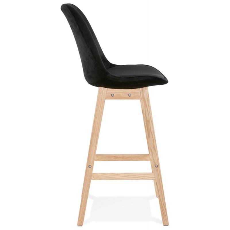 Taburete de barra de diseño escandinavo en pies de color natural CAMY (negro) - image 45604