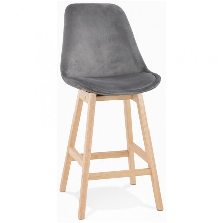 Mid-height bar pad Scandinavian design in natural-colored feet CAMY MINI (grey)
