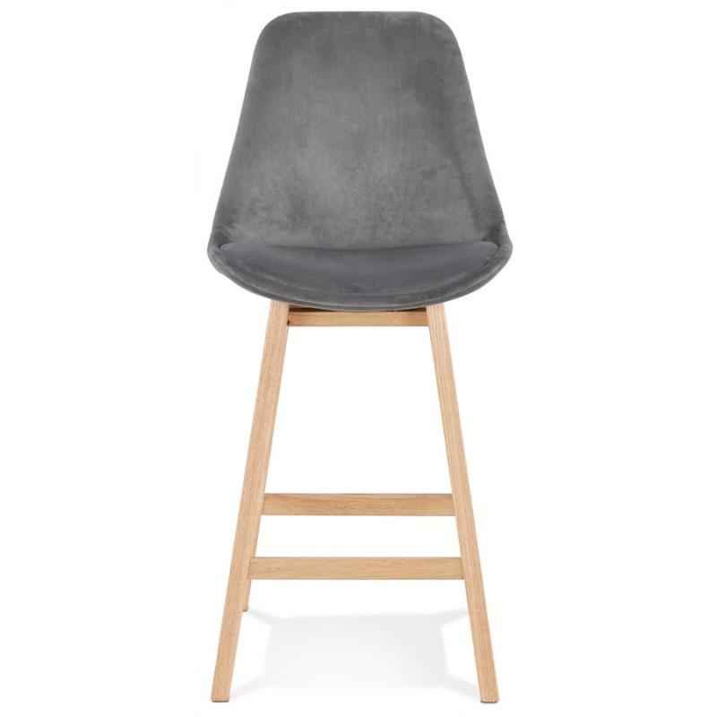 Tabouret de bar mi-hauteur design scandinave en velours pieds couleur naturelle CAMY MINI (gris) - image 45613