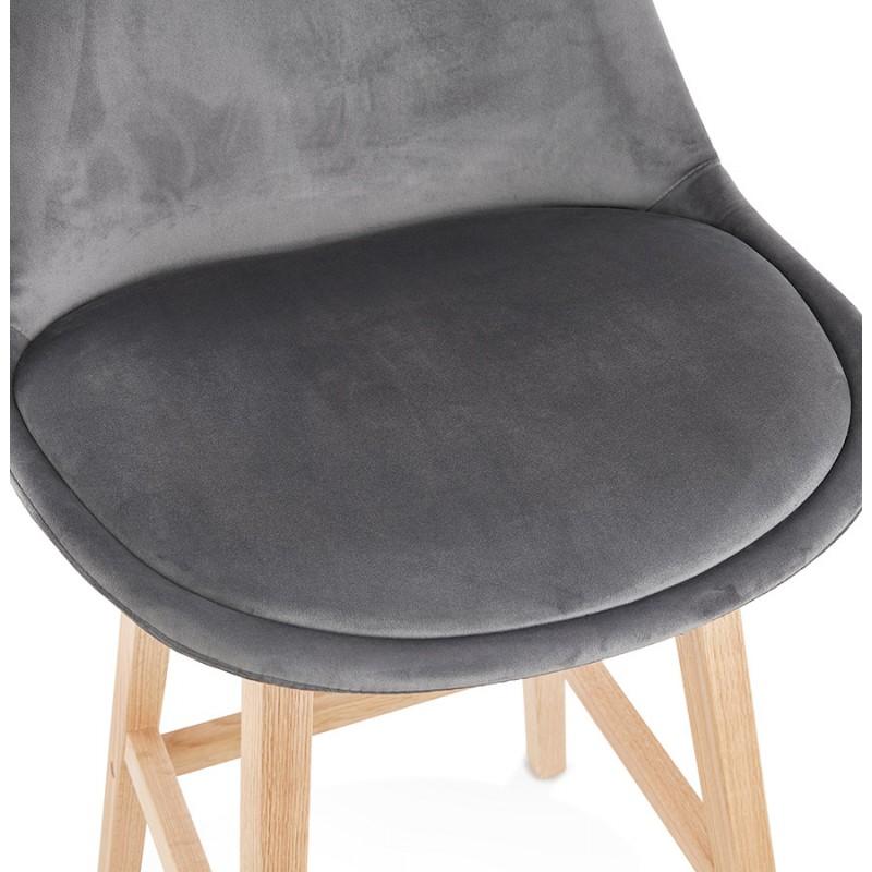 Tabouret de bar mi-hauteur design scandinave en velours pieds couleur naturelle CAMY MINI (gris) - image 45618