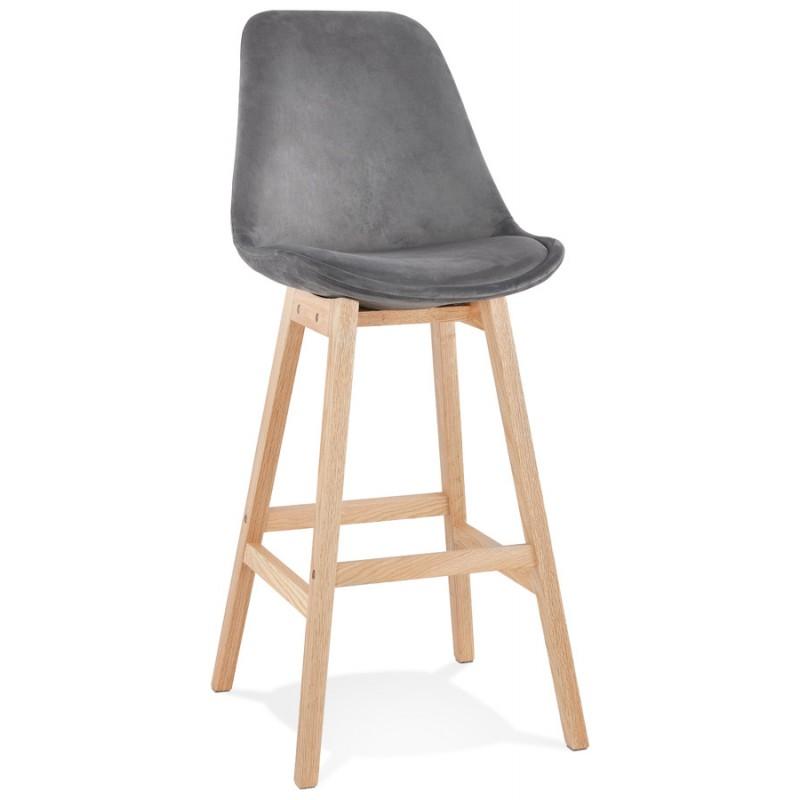 Taburete de barra de diseño escandinavo en pies de color natural CAMY (gris) - image 45623