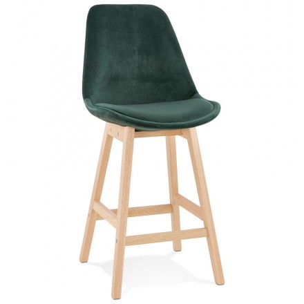 Mid-height bar pad Scandinavian design in natural-colored feet CAMY MINI (green)