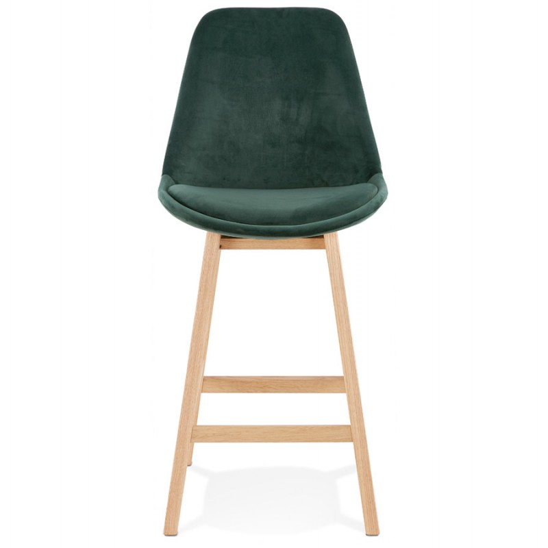 Tabouret de bar mi-hauteur design scandinave en velours pieds couleur naturelle CAMY MINI (vert) - image 45635