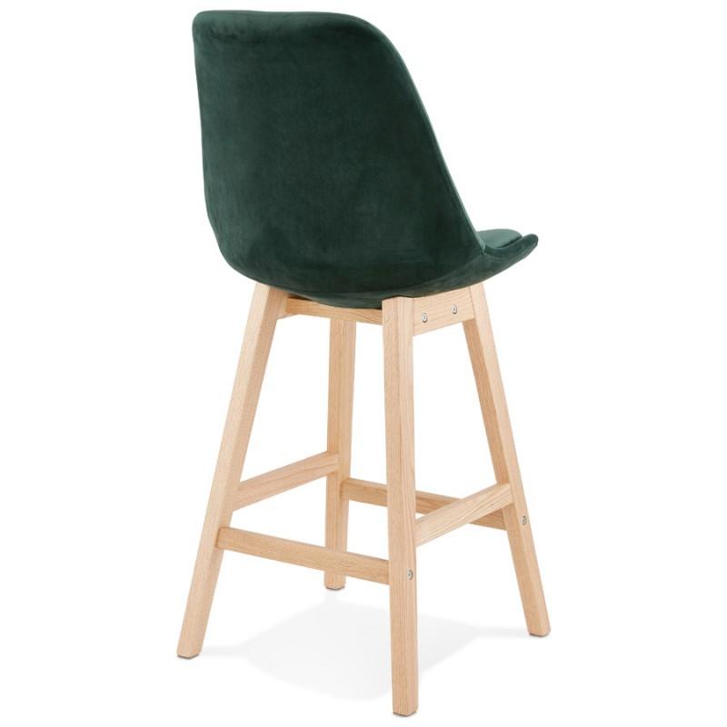 Tabouret de bar mi-hauteur design scandinave en velours pieds couleur naturelle CAMY MINI (vert) - image 45637