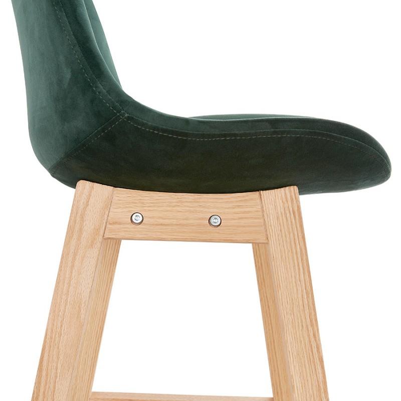 Tabouret de bar mi-hauteur design scandinave en velours pieds couleur naturelle CAMY MINI (vert) - image 45641