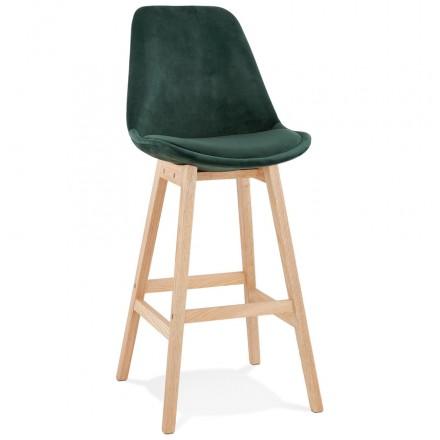 Taburete de barra de diseño escandinavo en pies de color natural CAMY (verde)