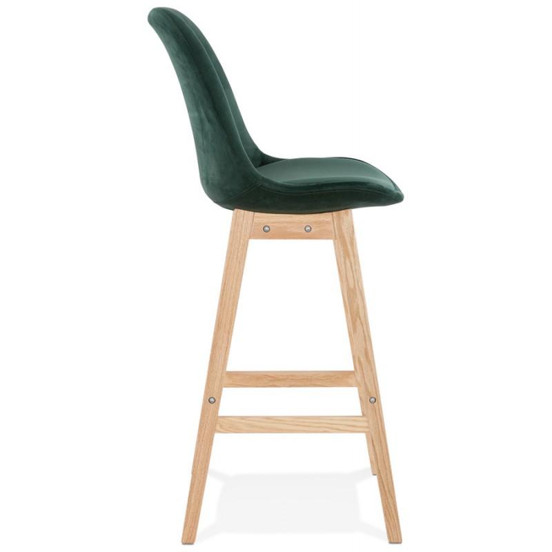 Tabouret de bar design scandinave en velours pieds couleur naturelle CAMY (vert) - image 45646