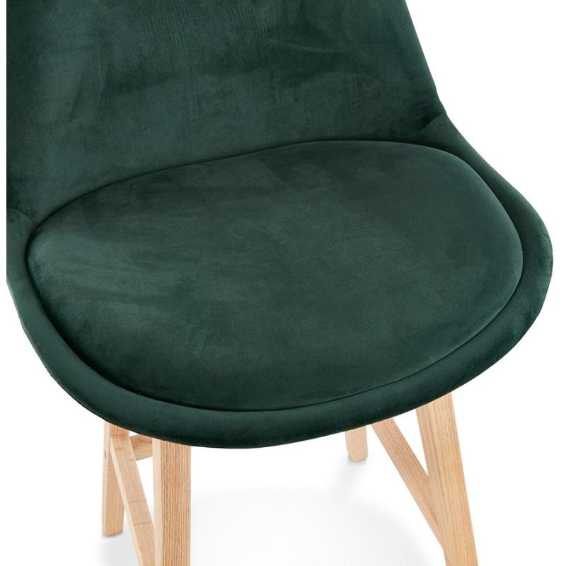 Tabouret de bar design scandinave en velours pieds couleur naturelle CAMY (vert) - image 45649