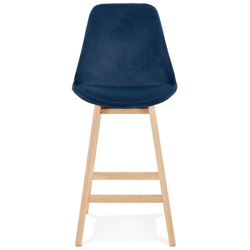 Tabouret de bar mi-hauteur design scandinave en velours pieds couleur naturelle CAMY MINI (bleu) - image 45655