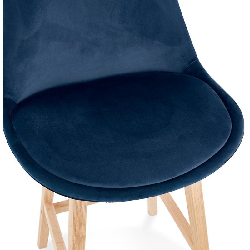 Tabouret de bar mi-hauteur design scandinave en velours pieds couleur naturelle CAMY MINI (bleu) - image 45659
