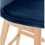 Tabouret de bar mi-hauteur design scandinave en velours pieds couleur naturelle CAMY MINI (bleu)