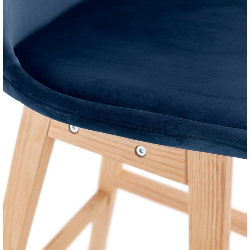 Tabouret de bar mi-hauteur design scandinave en velours pieds couleur naturelle CAMY MINI (bleu) - image 45661