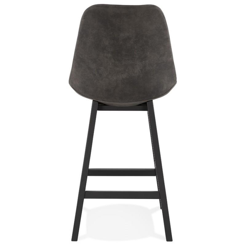 Tabouret de bar mi-hauteur vintage en microfibre pieds noirs LILY MINI (gris foncé) - image 45678