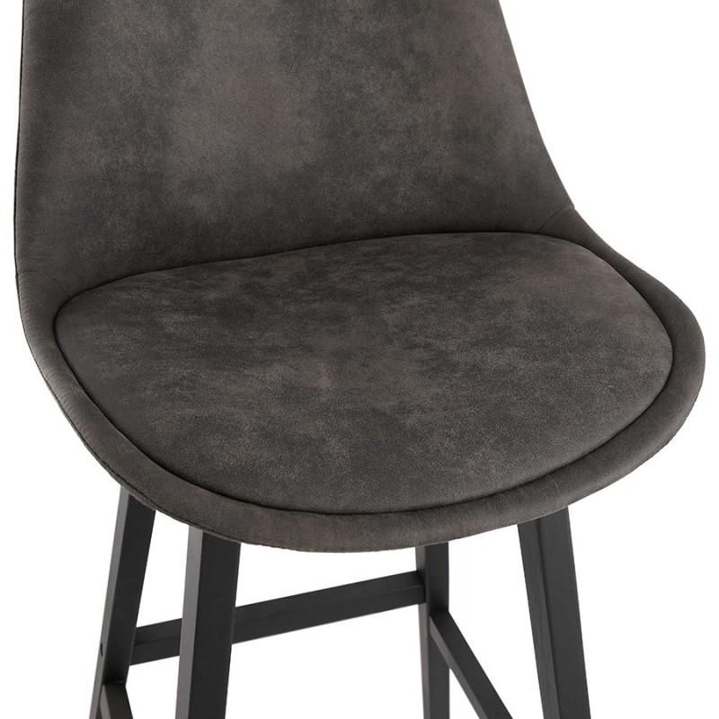 Tabouret de bar mi-hauteur vintage en microfibre pieds noirs LILY MINI (gris foncé) - image 45679