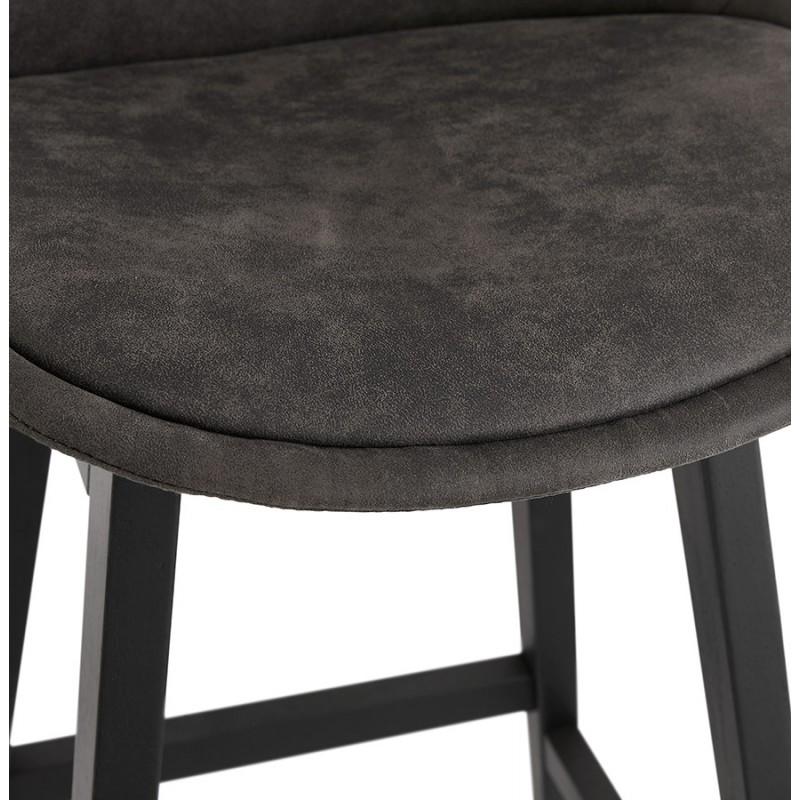 Tabouret de bar mi-hauteur vintage en microfibre pieds noirs LILY MINI (gris foncé) - image 45680
