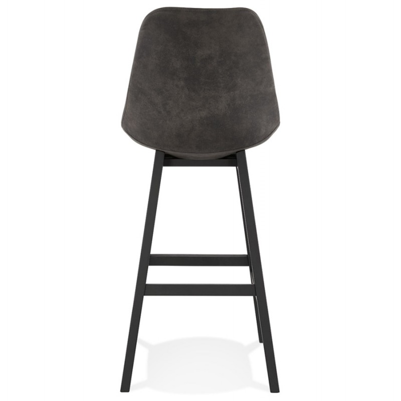 Vintage bar stool in microfiber black metal feet LILY (dark grey) - image 45688