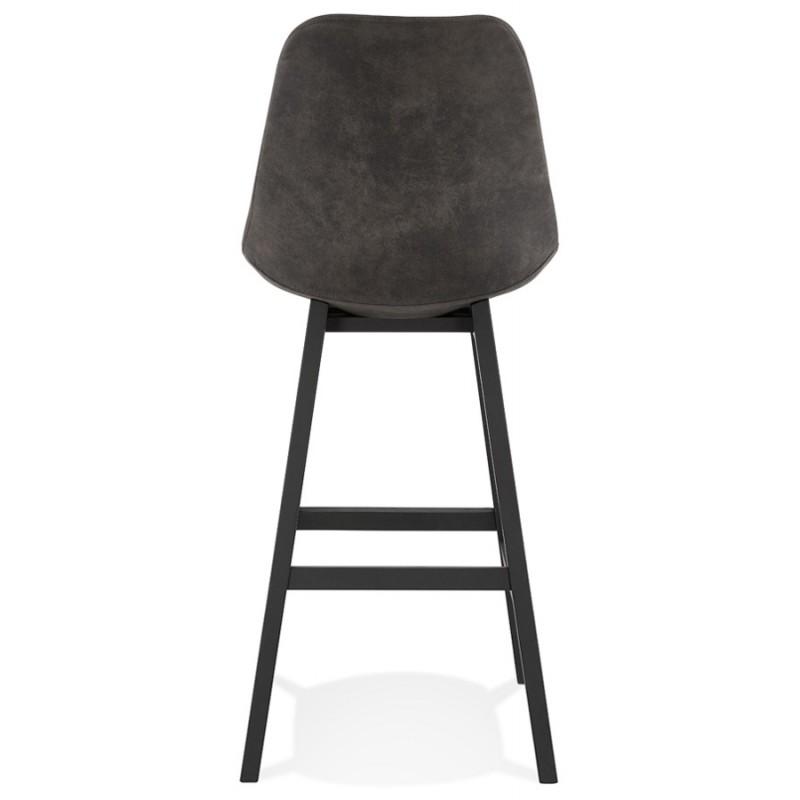Tabouret de bar vintage en microfibre pieds métal noir LILY (gris foncé) - image 45688