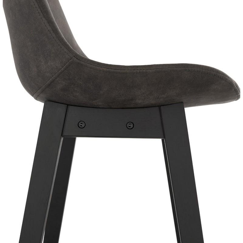 Vintage bar stool in microfiber black metal feet LILY (dark grey) - image 45692