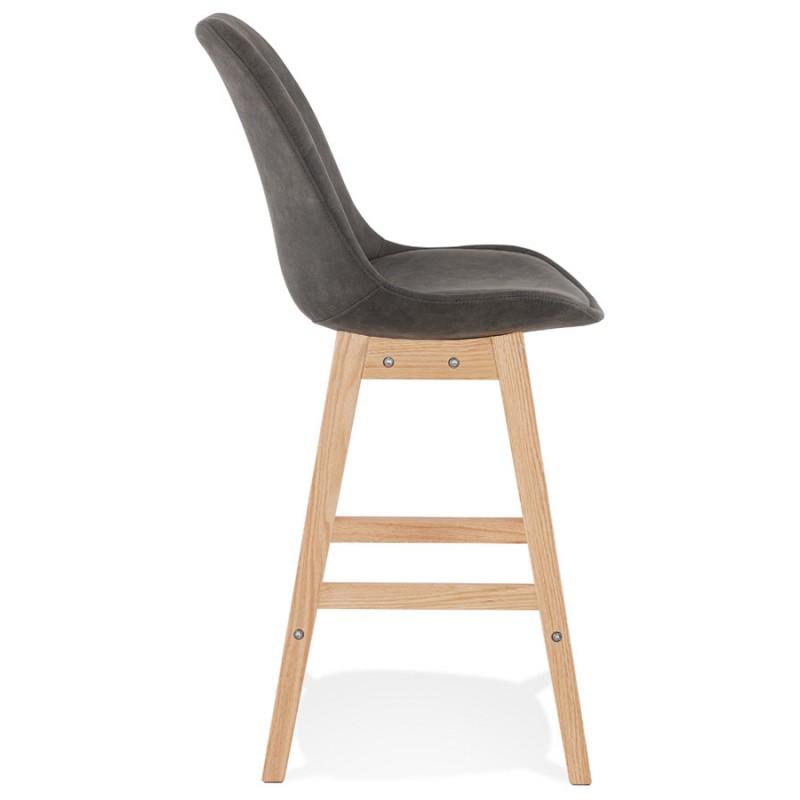 Almohadilla de barra de altura media Diseño escandinavo en patas de microfibra color natural LILY MINI (gris oscuro) - image 45696