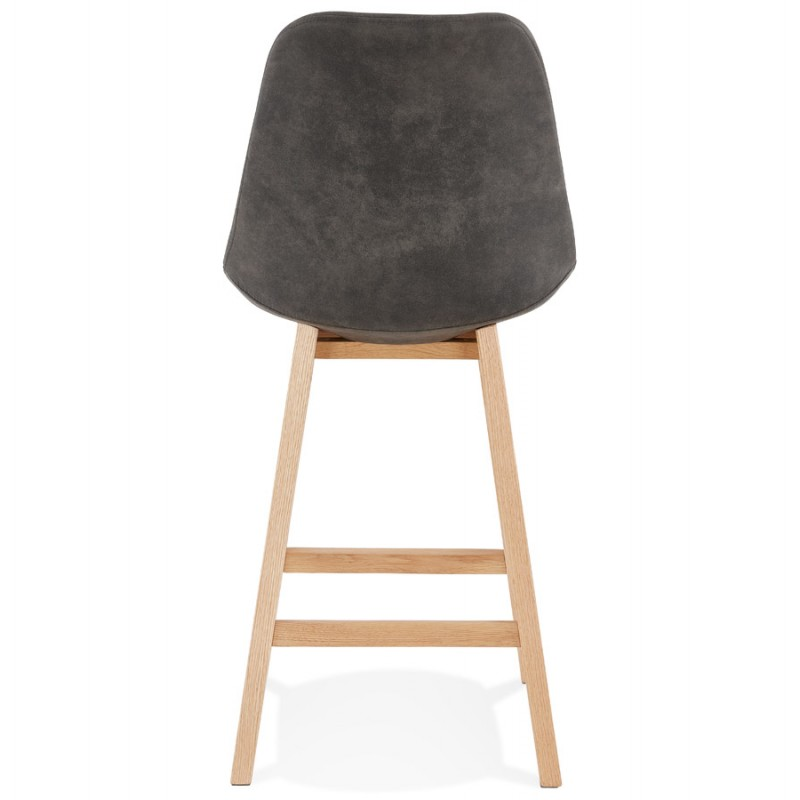 Mid-height bar pad Scandinavian design in microfiber feet natural color LILY MINI (dark grey) - image 45698