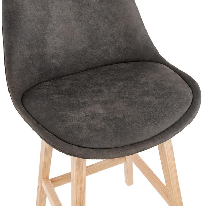 Mid-height bar pad Scandinavian design in microfiber feet natural color LILY MINI (dark grey) - image 45699