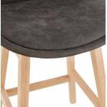 Mid-height bar pad Scandinavian design in microfiber feet natural color LILY MINI (dark grey)
