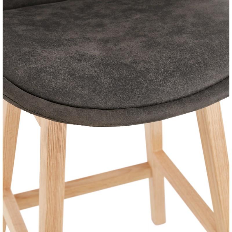 Tabouret de bar mi-hauteur design scandinave en microfibre pieds couleur naturelle LILY MINI (gris foncé) - image 45700