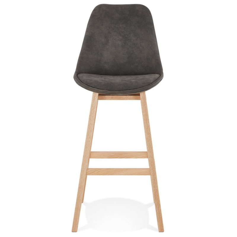 Scandinavian design bar stool in microfiber feet natural color LILY (dark grey) - image 45707