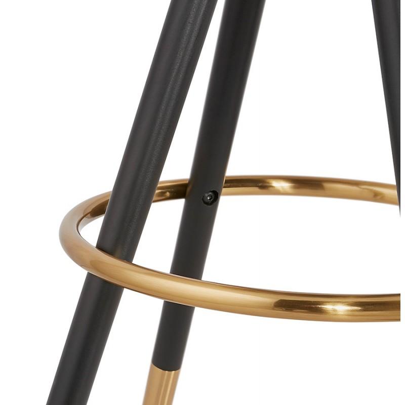 Tabouret de bar mi-hauteur vintage en microfibre pieds noirs et dorés VICKY MINI (gris foncé) - image 45727