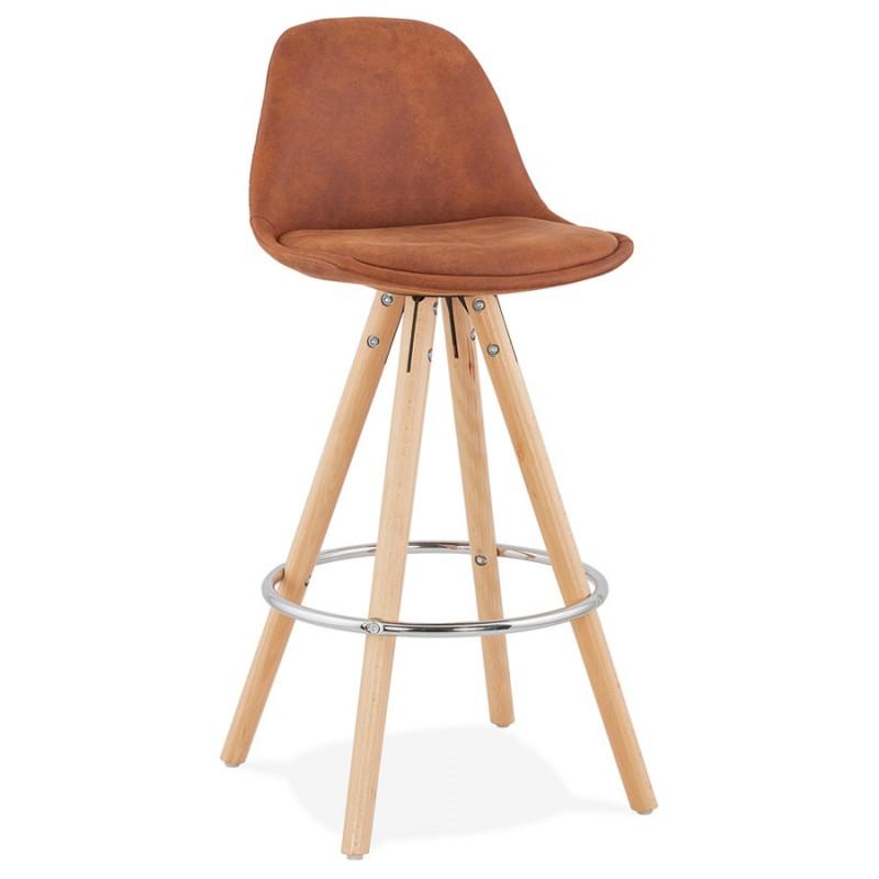 Tabouret de bar mi-hauteur scandinave en microfibre pieds bois couleur naturelle TALIA MINI (marron) - image 45740