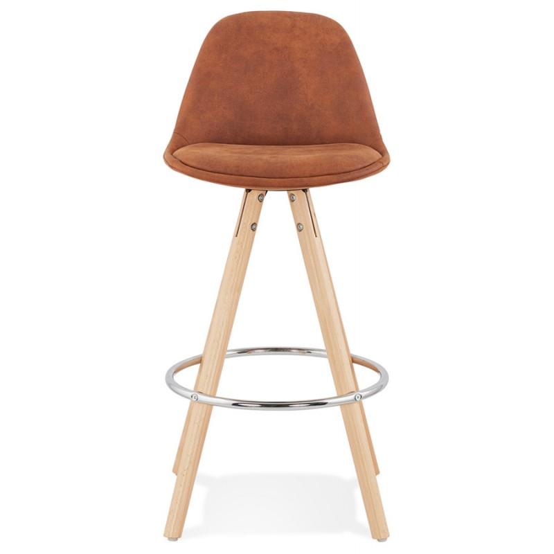 Tabouret de bar mi-hauteur scandinave en microfibre pieds bois couleur naturelle TALIA MINI (marron) - image 45741