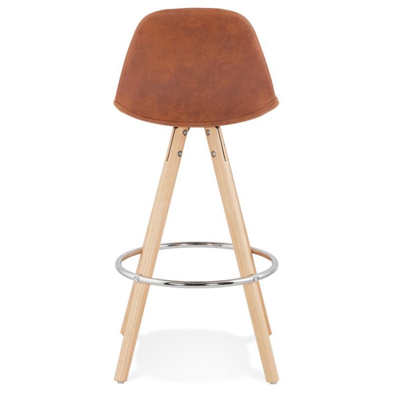 Tabouret de bar mi-hauteur scandinave en microfibre pieds bois couleur naturelle TALIA MINI (marron) - image 45744
