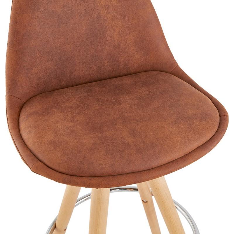Tabouret de bar mi-hauteur scandinave en microfibre pieds bois couleur naturelle TALIA MINI (marron) - image 45745
