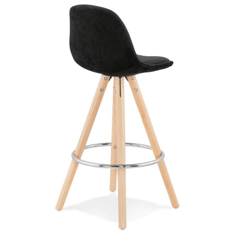 Tabouret de bar mi-hauteur scandinave en velours pieds bois couleur naturelle MERRY MINI (noir) - image 45756