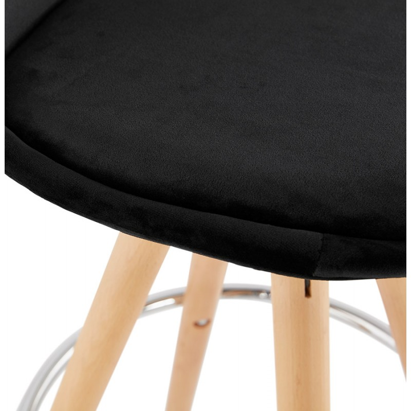 Tabouret de bar mi-hauteur scandinave en velours pieds bois couleur naturelle MERRY MINI (noir) - image 45760
