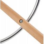 Tabouret de bar mi-hauteur scandinave en velours pieds bois couleur naturelle MERRY MINI (noir)