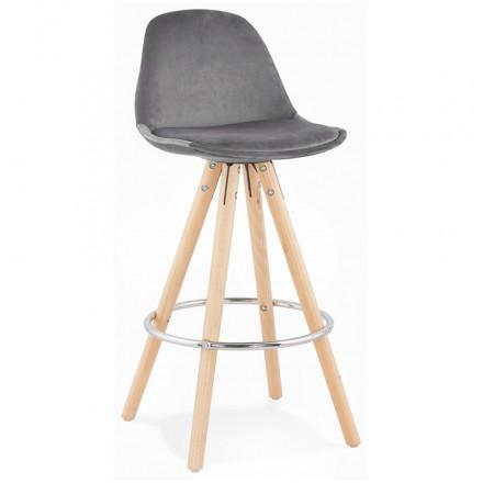 Tabouret de bar mi-hauteur scandinave en velours pieds bois couleur naturelle MERRY MINI (gris)