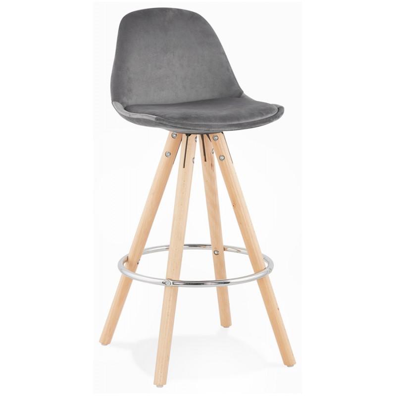 Tabouret de bar mi-hauteur scandinave en velours pieds bois couleur naturelle MERRY MINI (gris) - image 45766