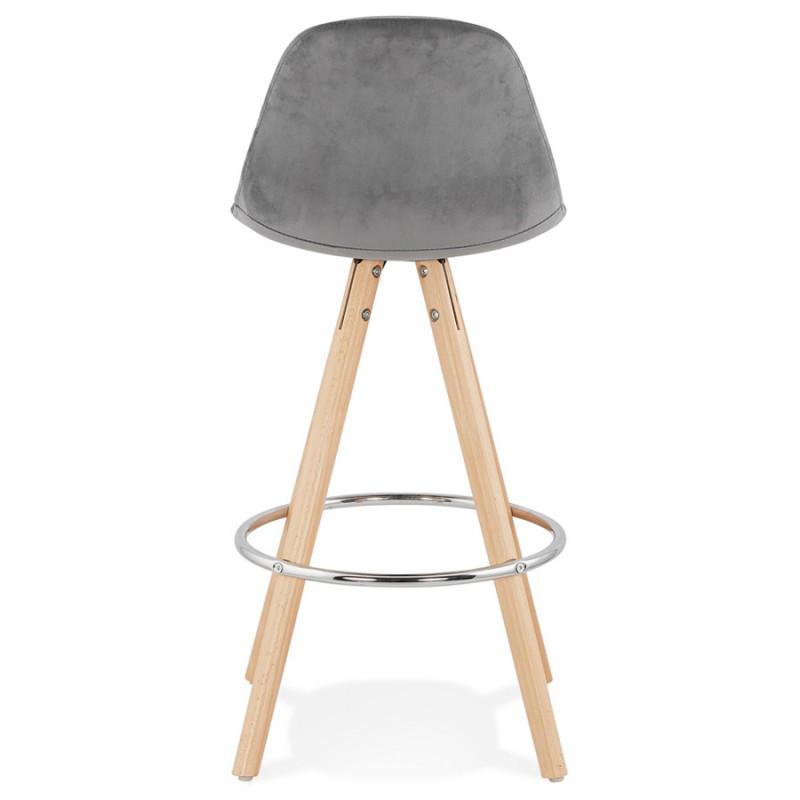 Tabouret de bar mi-hauteur scandinave en velours pieds bois couleur naturelle MERRY MINI (gris) - image 45770